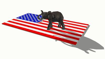 """""""Um elefante incomoda muita gente"""" - o elefante é o símbolo o Partido Republicado dos EUA"""