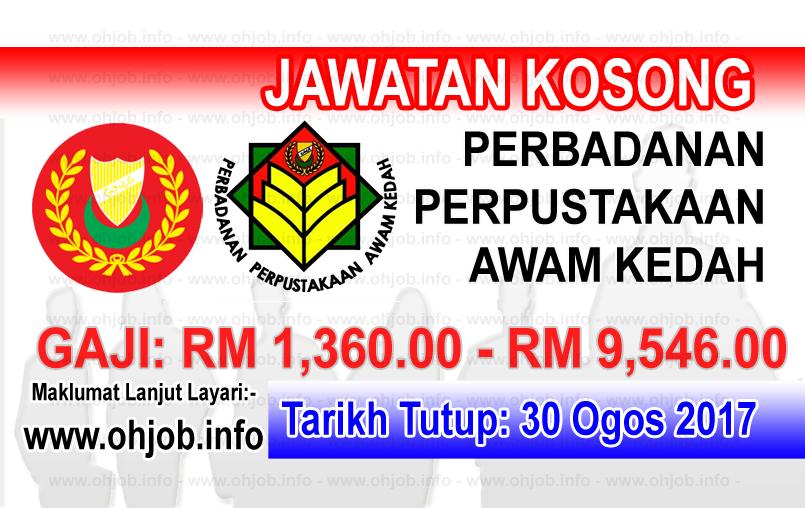 Jawatan Kerja Kosong Perbadanan Perpustakaan Awam Kedah - PPAK logo www.ohjob.info ogos 2017