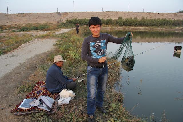 Ouzbékistan, Ferghana, étangs piscicoles d'Alisher, pêche, Zafar, © L. Gigout, 2012