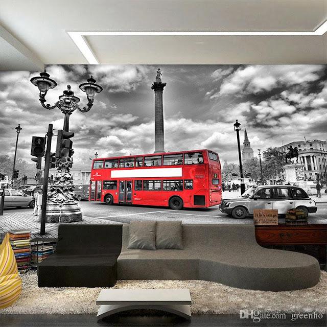Maisematapetti mustavalkoinen London Tapetti Kaupunki