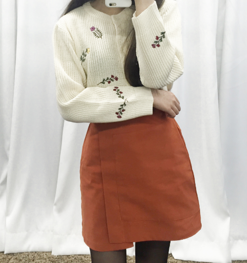 Flower Embroidered Button-Down Knit Cardigan