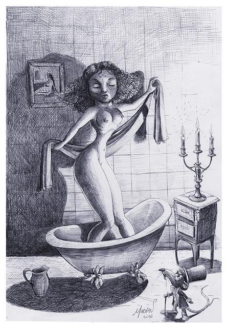 """La Dama en la Bañera"" (boligrafo bic sobre papel)"