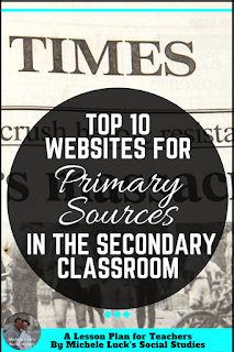 Use these Top 10 Websites for Teaching with Primary Sources in the Secondary Classroom to help teach your middle and high school students how to analyze documents, investigate history, and evaluate images for a deeper understanding of the past.  And I love the great images from number 3!
