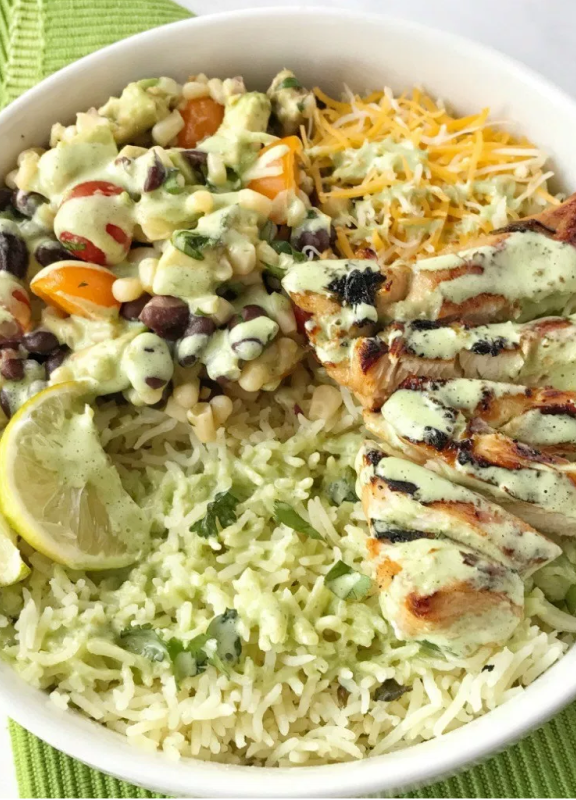 Honey Cilantro Lime Grilled Chicken Rice Bowls