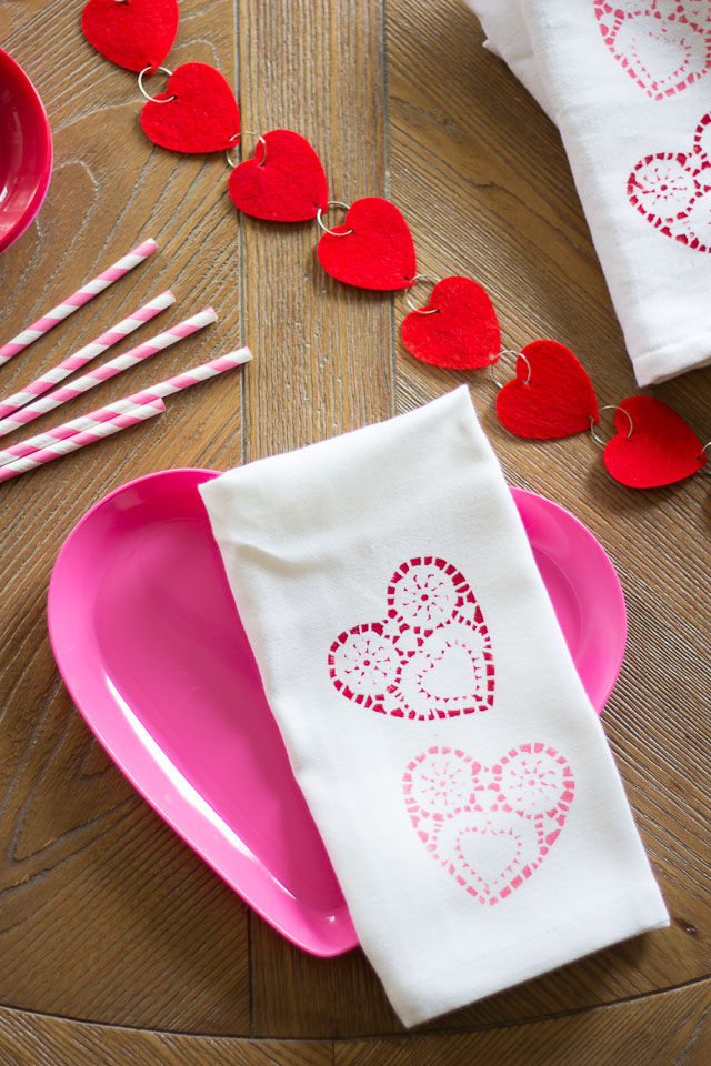 Doily stamped napkins - the perfect addition to a Valentine's Day table!