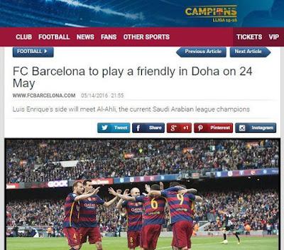 موعد وتوقيت مباراة برشلونة والأهلي الودية في الدوحة 24 مايو 2016