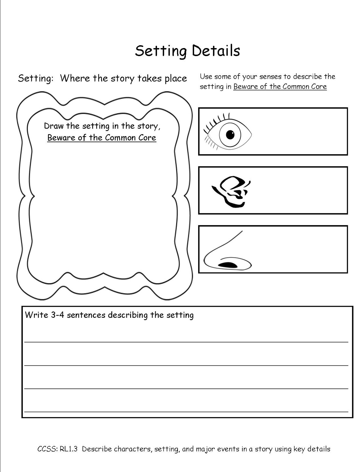 Common Core Activities Setting Details First Grade Ccss