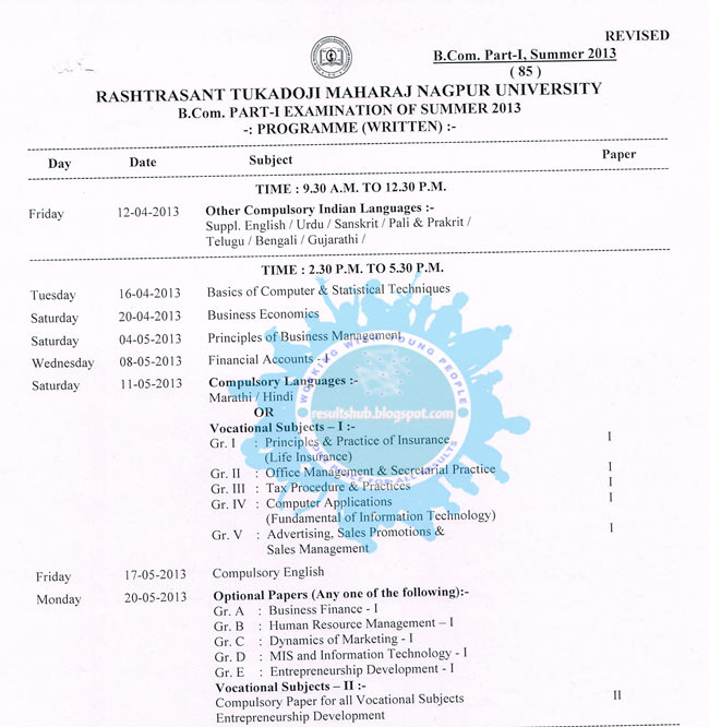 B.Com. Part 1 Revised New Timetable Nagpur University Summer 2013
