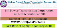 MP Power Transmission Corporation Limited Recruitment 2018 – 70 Line Attendant