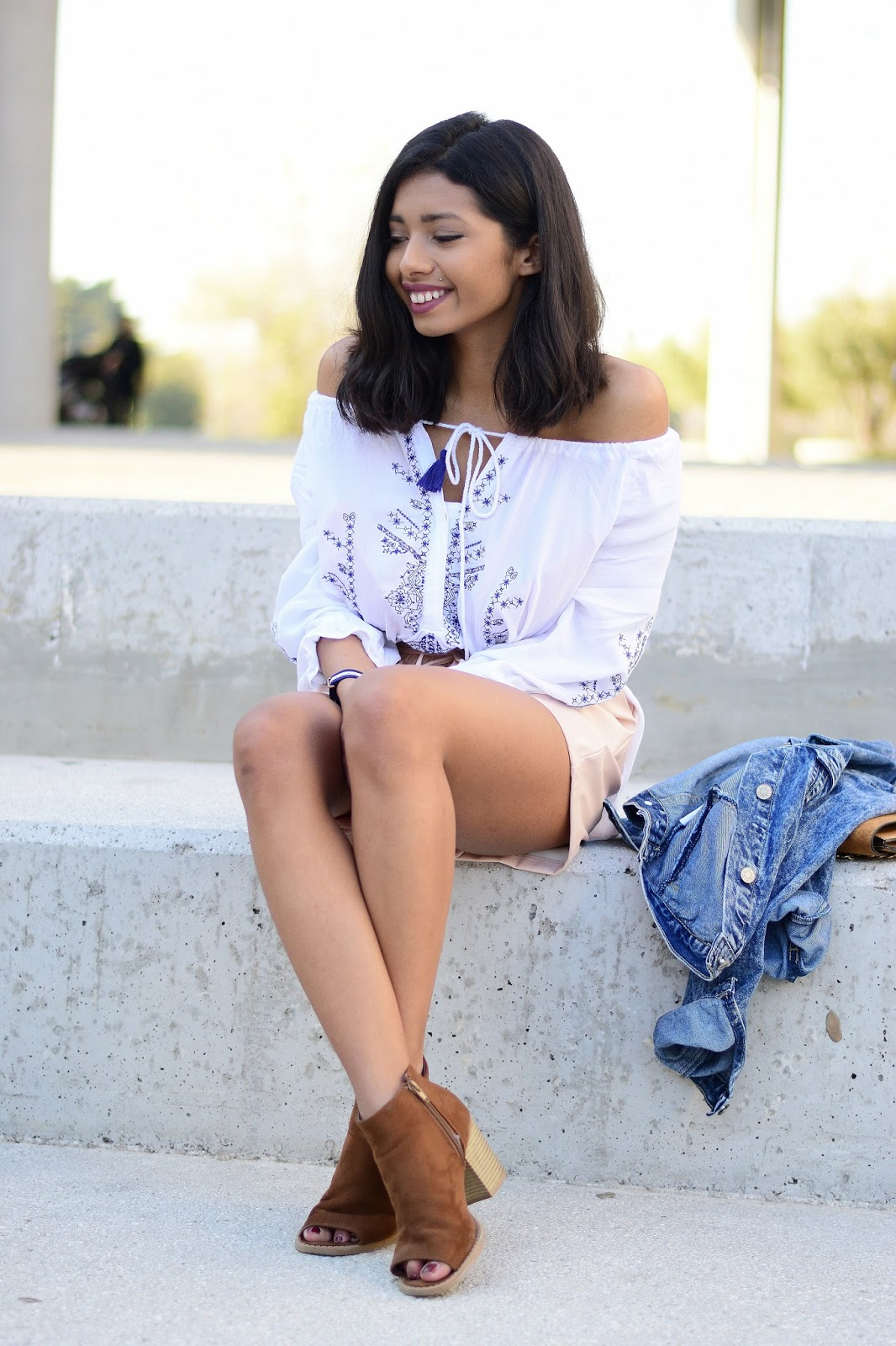 blush leather shorts in spring