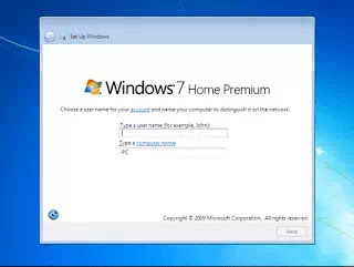enter your user name in windows 7