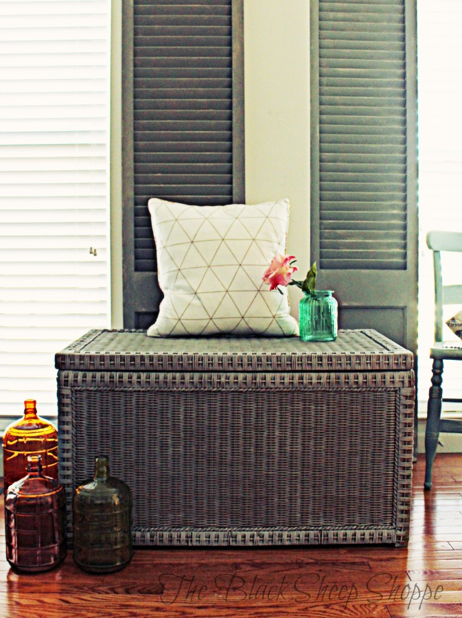 Wicker trunk painted with French Linen.