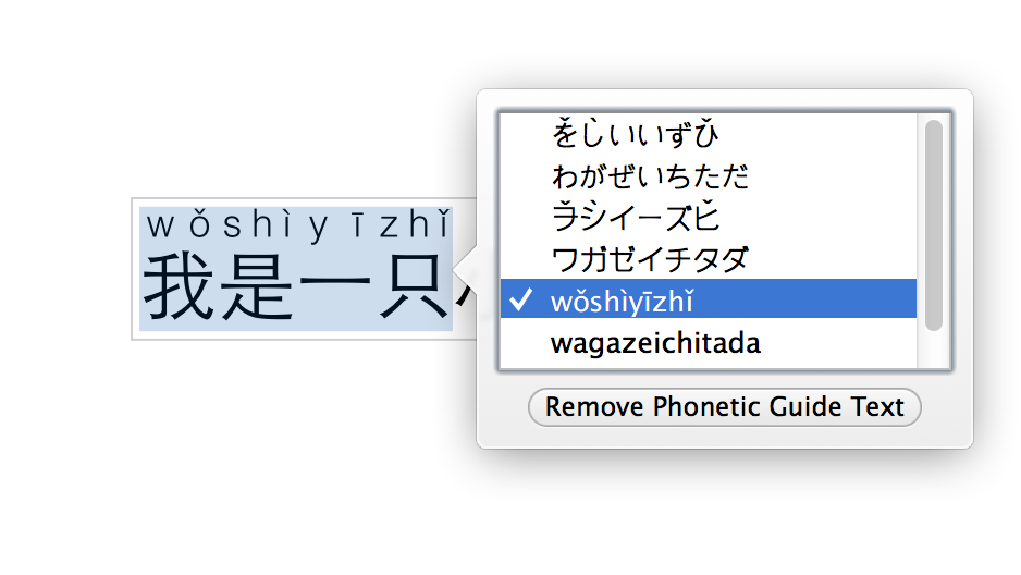 Choose the pinyin