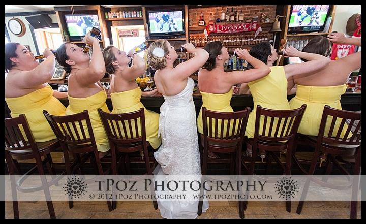 bridesmaids drinking beer at No Idea Tavern
