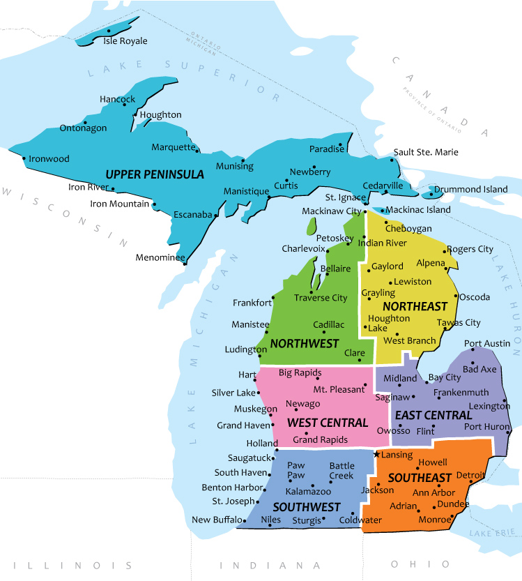 Map Michigan Cities And Towns