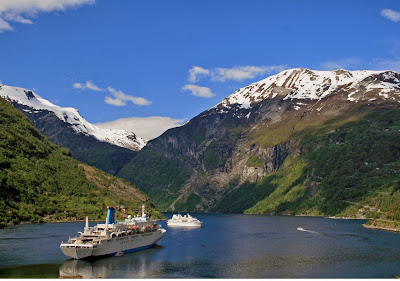 Cruise ship in the Geiranger Fjord, Norway