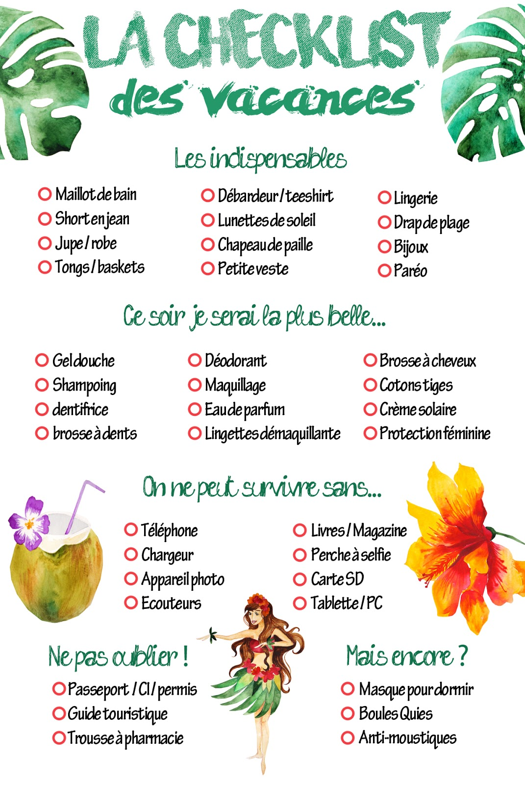 Extrem Freebies - Freeprintable checklist vacances d'été – Uneviemotrose LP27