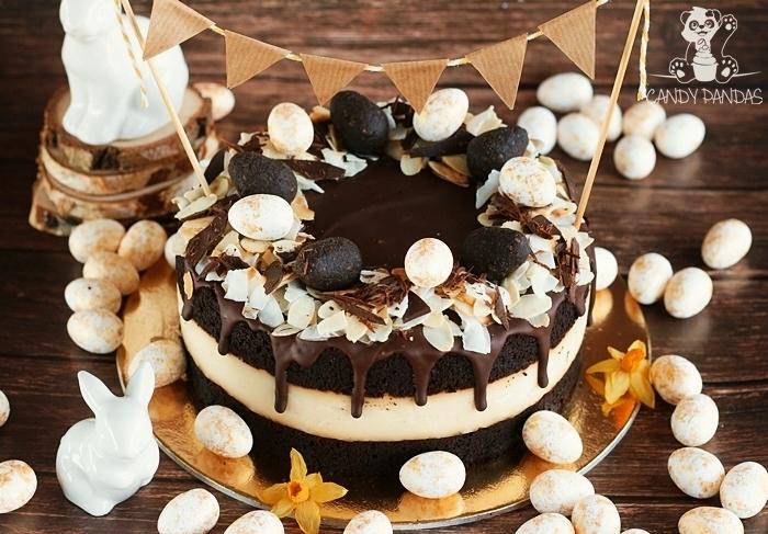 Torcik kakaowy z budyniem (bez glutenu, cukru białego, wegański)