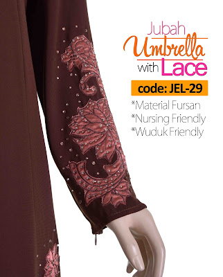 Jubah Umbrella Lace JEL-29 Brown Tangan 1