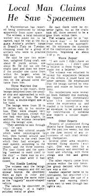 Local Man Claims He Saw Spacemen - Virgian News (Waynesboro, Virginia) 1-23-1965