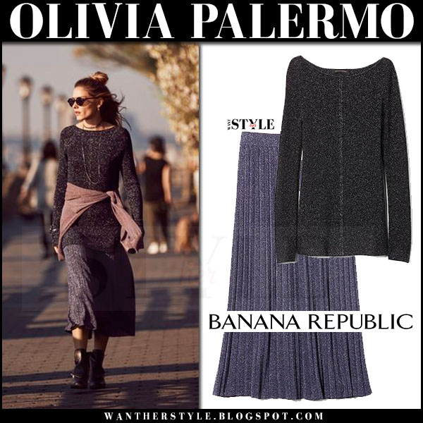 Olivia Palermo in dark grey sweater and blue metallic knit pleated midi skirt Banana Republic 2017 street style inspiration