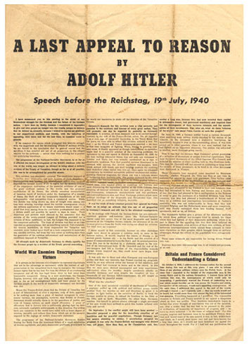 1 August 1940 worldwartwo.filminspector.com German propaganda leaflet Last Appeal to Reason