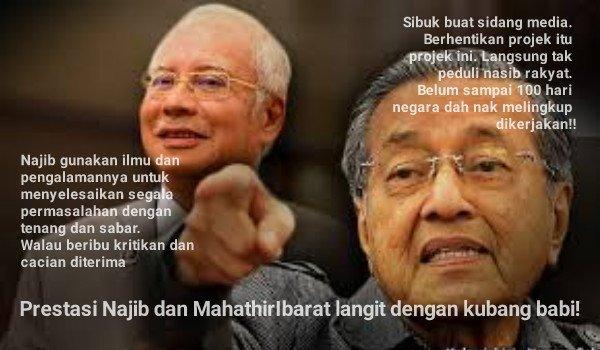 Prestasi Najib dan Mahathir Ibarat langit dengan kubang babi!