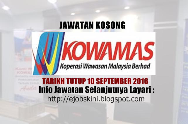 jawatan kosong di kowamas september 2016