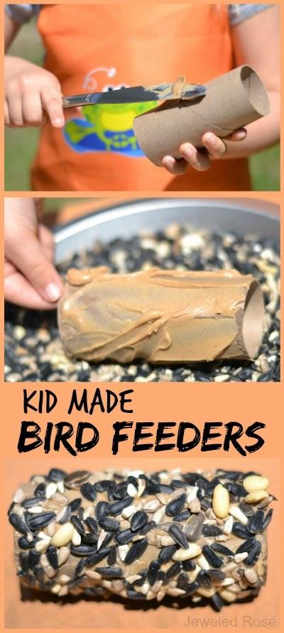 Kid made bird feeders; a fun & easy craft for Spring