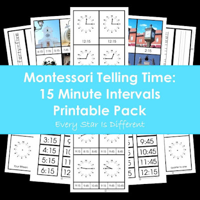 Montessori Telling Time: 15 Minute Intervals Printable Pack