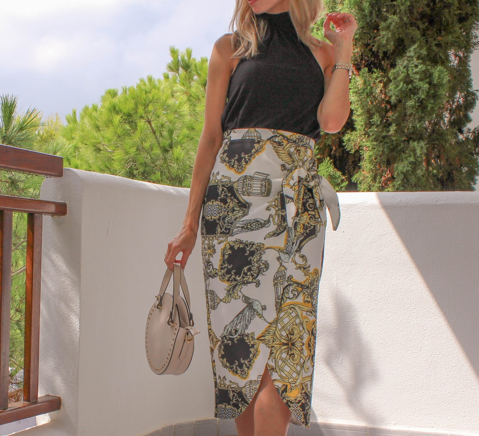 River Island Wraparound Scarf Print Midi Skirt