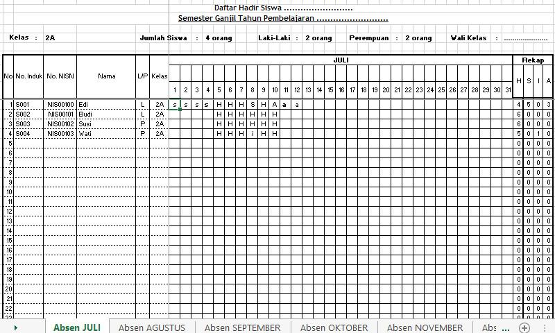 Download Contoh Absensi Siswa Rekap Otomatis Format Excel Semester 1 dan 2