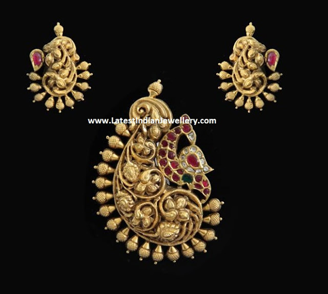 Antique Peacock Pendant and Earrings
