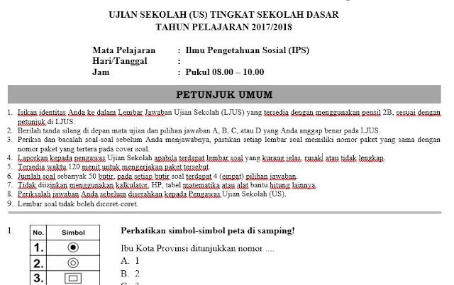 Soal Ujian Sekolah IPS Kelas 6 SD/MI Dengan Kunci Jawaban