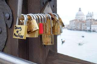 locks on accademia bridge venice