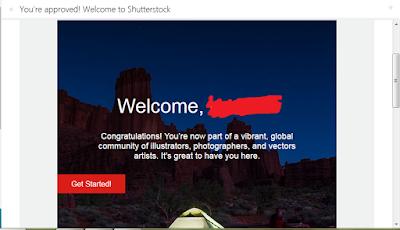 email diterima atau aproved sebagai kontributor di shutterstock