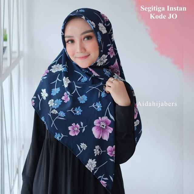 Hijab Kerudung Segi Empat Instan Panjang Motif Bunga Cantik