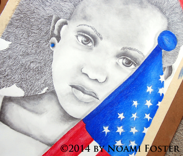 Patriotic girl from The True Colors Collection using Prismacolor Pencils