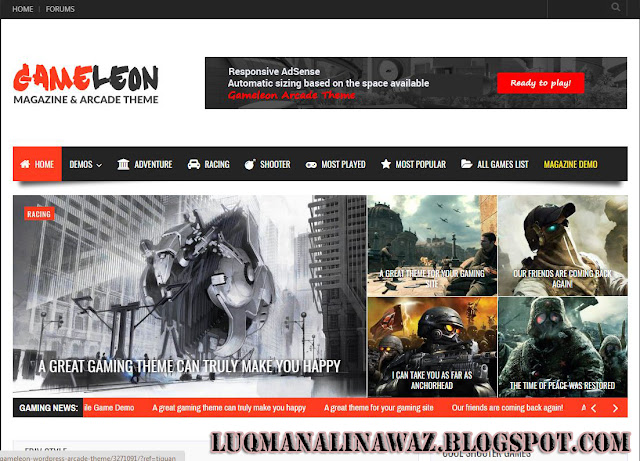 Game Leon Wordpress Theme