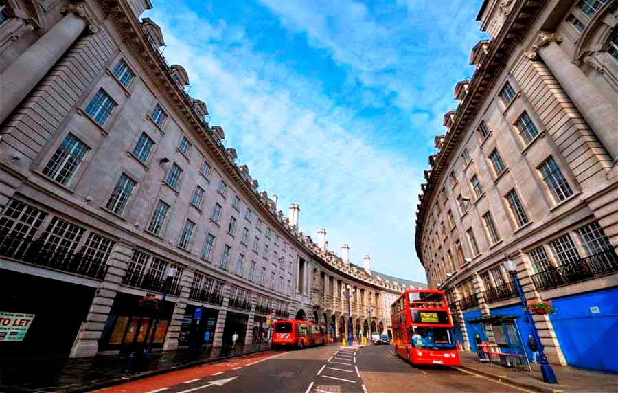 Rua Regent Street em Londres