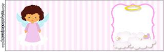 Brunette Angel Girl: Free Printable  Labels.