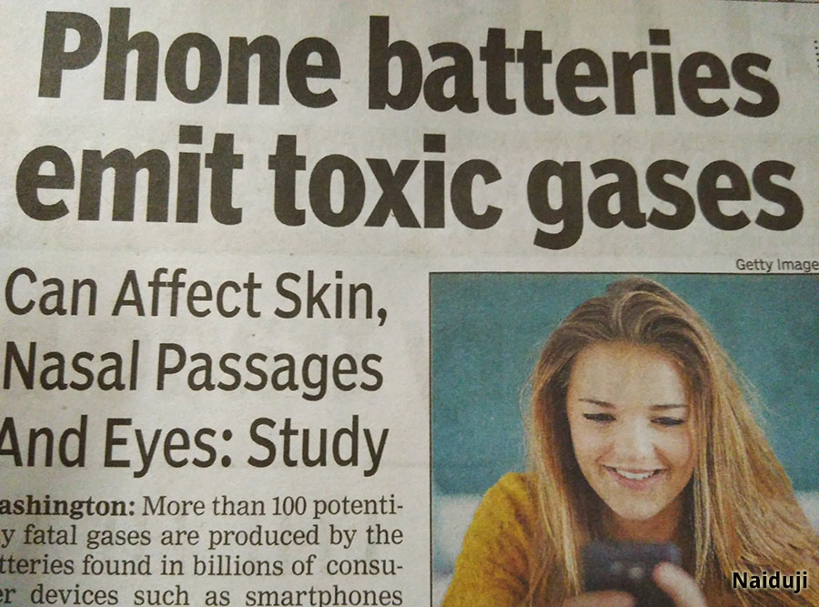 Phone batteries emit toxic gases