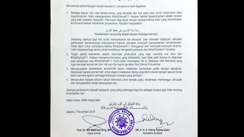 Pernyataan sikap PBNU soal demo Ahok 4 November