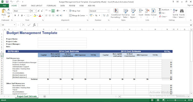 Budget Management Excel Template