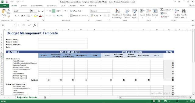 Budget Management Excel Template - ENGINEERING MANAGEMENT