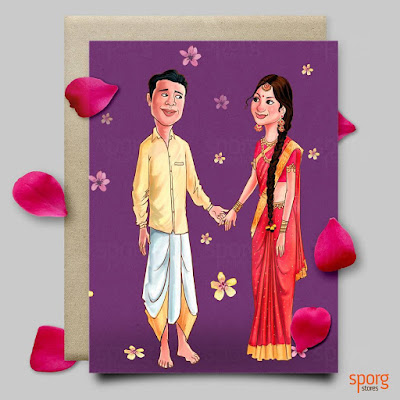 Illustrated Caricature Wedding Card