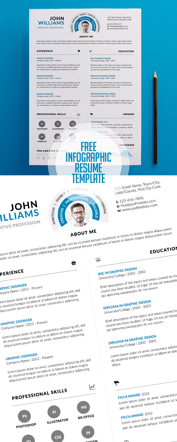 free clean and infographic resume psd template freebies psd