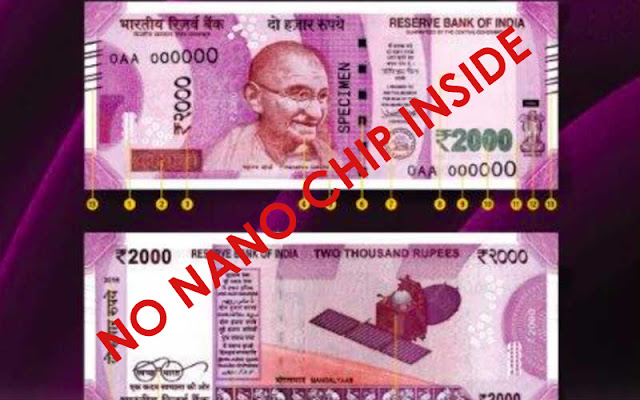 There is no GPS nano chip inside in 2000 Rs Note RBI Clear