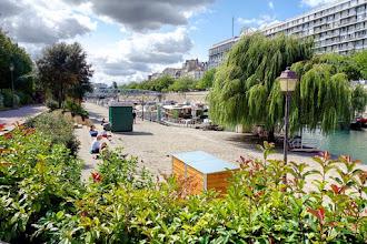 Paris : Jardin du Port de l'Arsenal, une promenade plantée au bord de l'eau, riche histoire de fossés médiévaux - XIIème