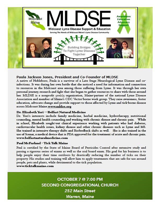 Midcoast Lyme Disease Support and Education: September 2016